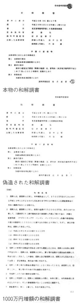 本物の和解調書 偽造された和解調書 1000万円の増額の和解調書