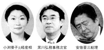 小渕優子元経産相 黒川弘務事務次官 安倍晋三総理
