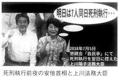 死刑執行前夜の安倍首相と上川法務大臣