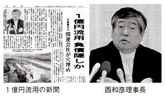 1億円流用の新聞 西和彦理事長