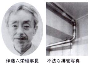 伊藤六栄理事長 不法な配管写真