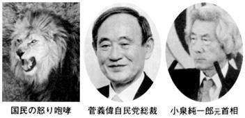 国民の怒り咆哮 菅義偉自民党総裁 小泉純一郎元首相