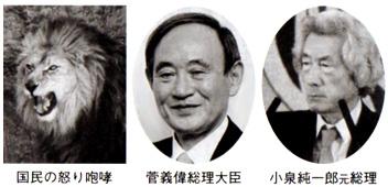 国民の怒り咆哮 菅義偉総理大臣 小泉純一郎元総理