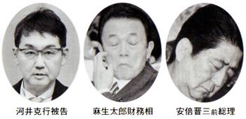 河井克行被告 麻生太郎財務相 安倍晋三前総理